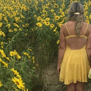 Forever 21 yellow open back dress
